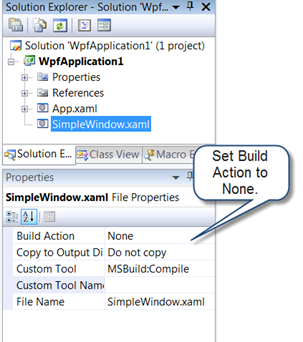 Setting build action to none